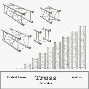 3D Straight Square Truss Collection model