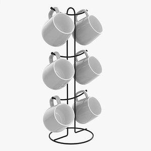 Kitchen six mug stand with mugs 3D model