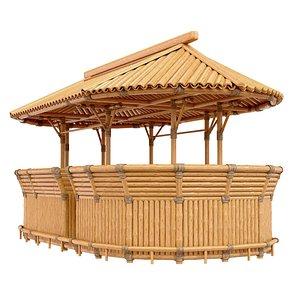 Bamboo tiki bar oval corner shape 3D