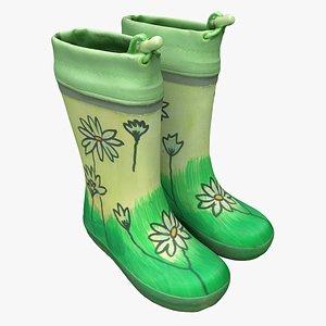 rubber boots shoes 3D model