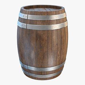 3D wooden barrel wood model
