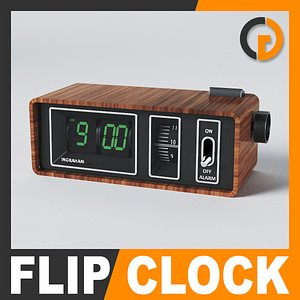 retro style alarm flip clock 3d model