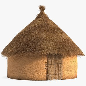 3D African Round Clay House Fur