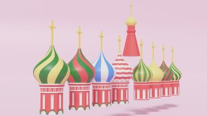 Moscow Kremlin Saint Basil's Cathedral Roofs model