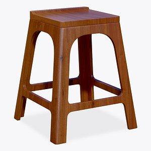 3D Stool Chair Wooden
