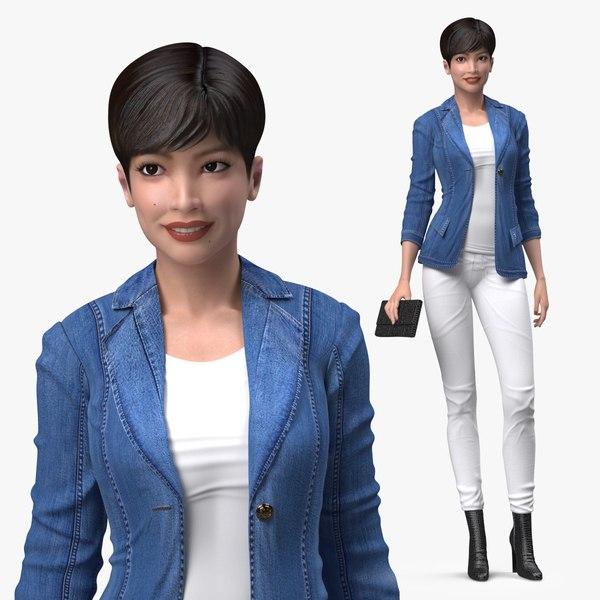 3D Asian Street Fashion Woman Standing Pose model