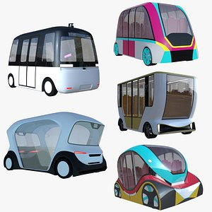 3D Shuttle buses collection model