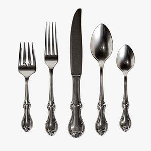 3D set cutlery model
