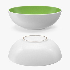 Green and White Cereal Bowl 3D model