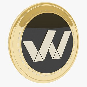 1World Cryptocurrency Gold Coin 3D