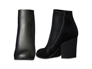 black leather zipped ankle 3D model