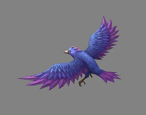 Cartoon Crow - Raven - Blue Bird Monster 3D model