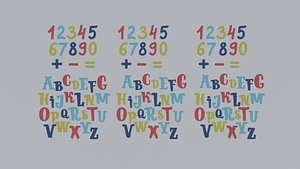 cartoon alphabet 3D model
