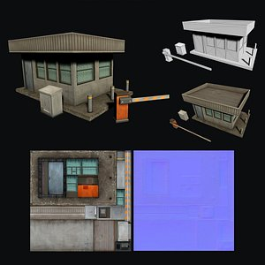 3D Security Booth Low-poly game ready 3D model model