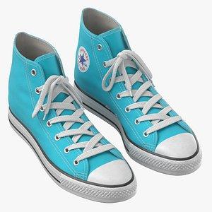 3D Basketball Leather Shoes Light Blue model