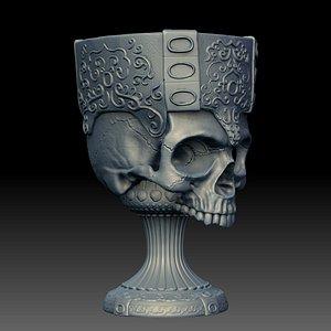 3D skull goblet printable
