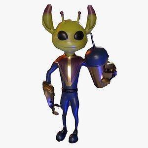Alien ufo monster man game ready pbr model