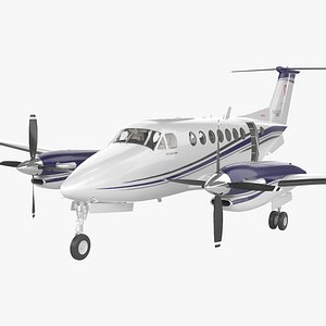 Beechcraft King Air 350i with HQ interior 3D model