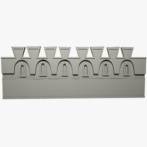 3D stylized castle wall