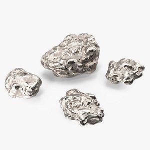 3D Metallic Silver Big Minerals model