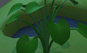 3D Spinach Bush Edible Root