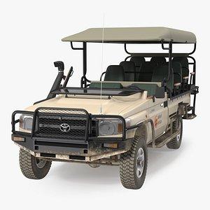 3D Toyota Land Cruiser Safari Open Sided Beige Dirty model