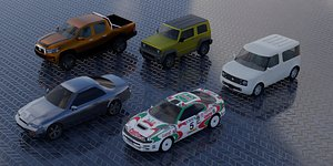 3D Spirit of Japan - lowpoly car set