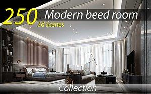3D 250 bedroom 3d interior scenes collection model