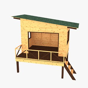 wooden children playhouses 3D model