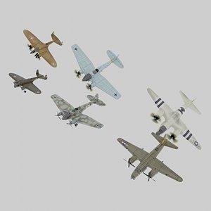 3D WW2 bombers lowpoly set B 3 x 3