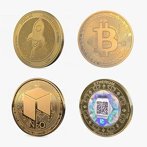Cryptocurrency Coins Gold Collection model