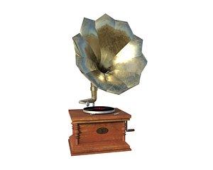 3D old vintage vinyl record player- Tocadisco