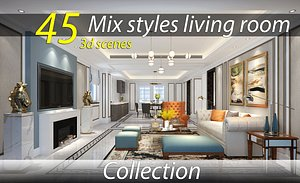 Collection of modern living room MIX STYLES 3D model