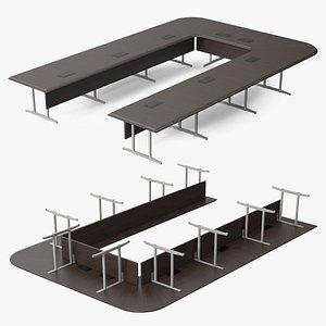 3D Modern U Shape Conference Table Dark Wood