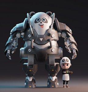 Robot Panda and Panda Kid Character 3D model