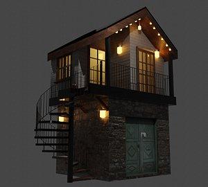 3D Stone Cottage House Village model