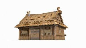 3D wooden thatched hut model