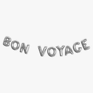 3D Foil Baloon Words BON VOYAGE Silver