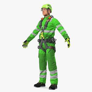 3D High Altitude Alpinist Worker Rigged model