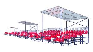 3D Stadium Seating Tribune pack model