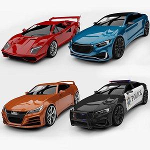 Unity 3D Generic Sports Cars Set 01 3D model
