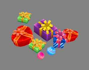 3D A pile of cartoon gift boxes - Love gift - Square gift box