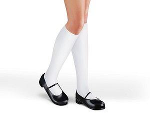 School Uniform Flat Shoes With Socks 3D model
