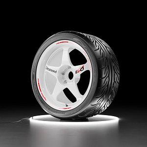 Car wheel Yokohama NEOVA AD08R tire with Regamaster EVO II rim 3D model