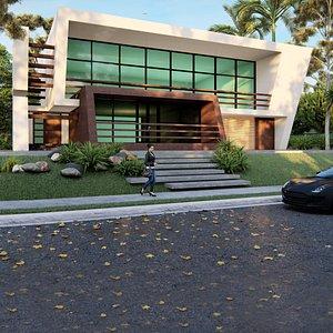 3D modern building architecture