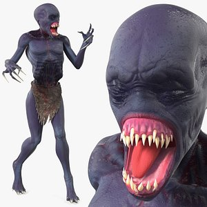 3D scary creature standing pose model