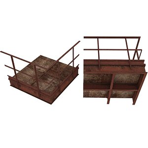 3D Industrial Platforms  Stairs 01 Set PCenter 01 02