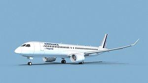 3D Airbus A220-300 Air France Regional model
