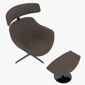 Cassina 277-12 Auckland Arm Chair and 277-42 Auckland Ottoman Taupe Fabric Black Body model