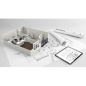 house with architecture drawing sheet 3D model